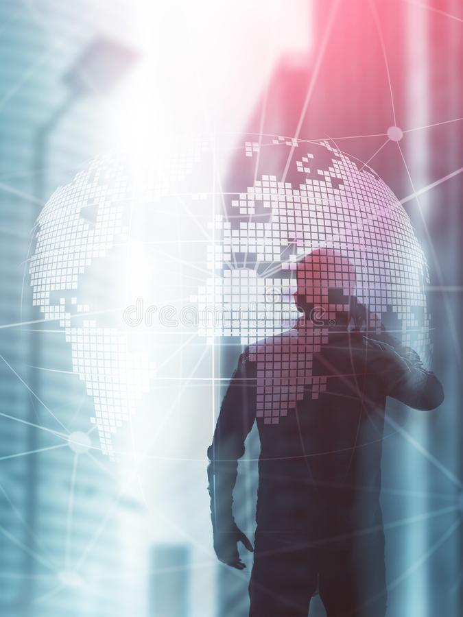 3D Earth hologram on blurred background.Global business and communication concept. Abstract Cover Design Vertical Format.  royalty free stock image