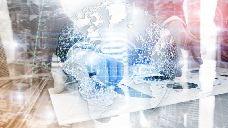 3D earth hologram, Globe, WWW, Global Business and Telecommunication royalty free stock photography