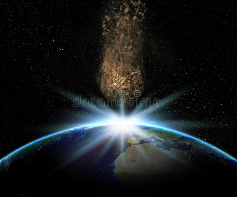 3D Earth with huge asteroid about to collide vector illustration