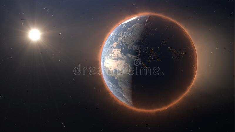 3D Earth warming concept seen from space vector illustration