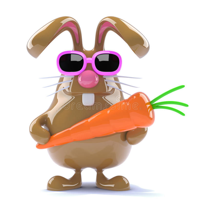 3d Easter rabbit with a carrot. 3d render of a chocolate rabbit holding a carrot royalty free illustration