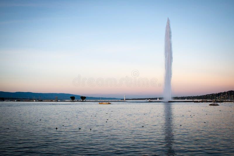 D'eau del jet de Ginebra con Mouette durante hora de oro fotos de archivo libres de regalías