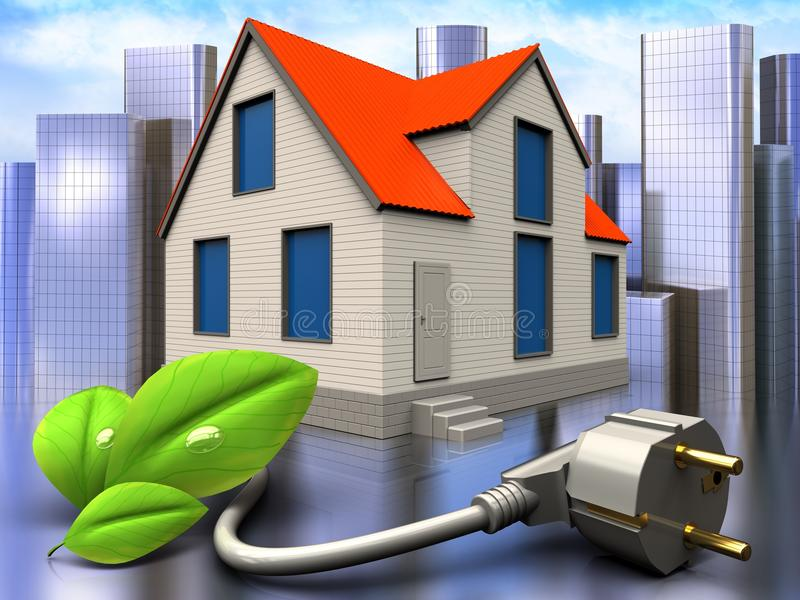 3d eco power cable over city. 3d illustration of cottage house with eco power cable over city background stock illustration