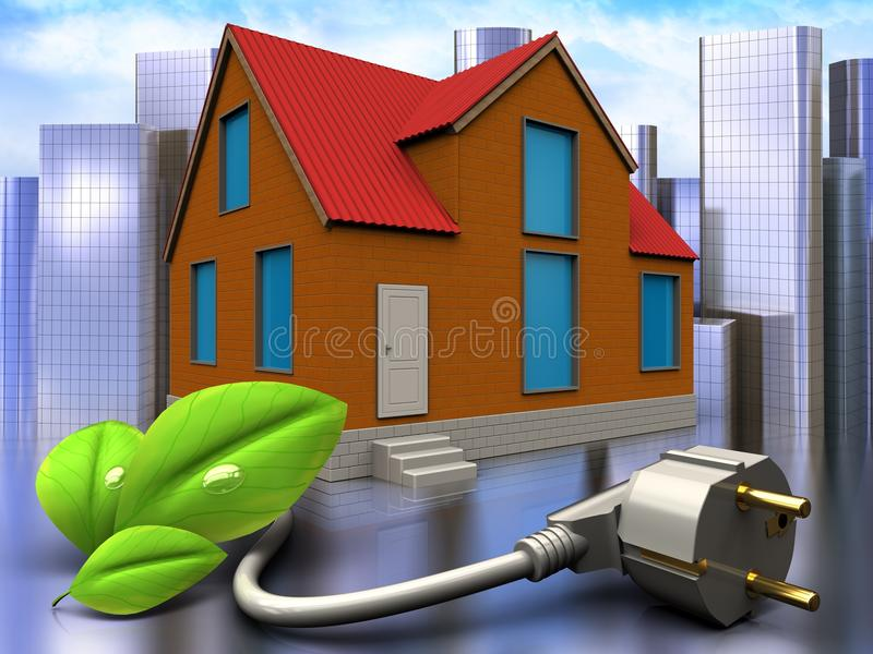 3d eco power cable over city. 3d illustration of cottage with eco power cable over city background stock illustration