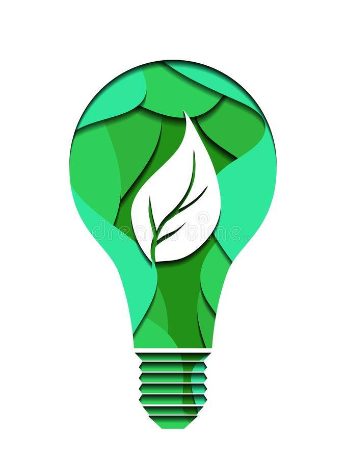 3d ecological Illustration of a light bulb cut from paper. Alternative power supply. Vector element for your creativity royalty free illustration