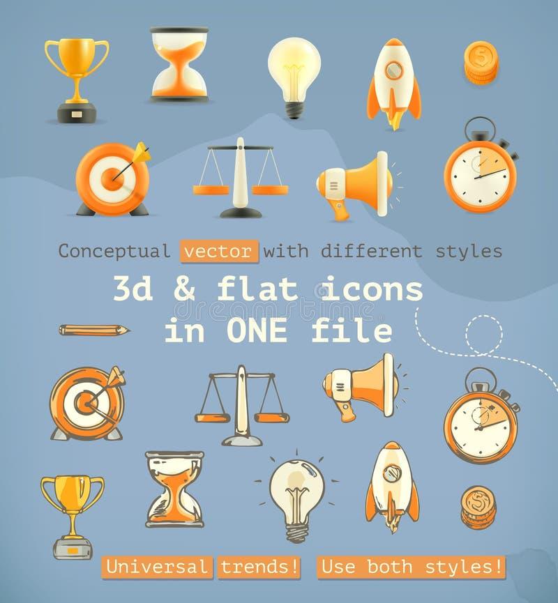 3d ed icone piane dell'insieme illustrazione vettoriale