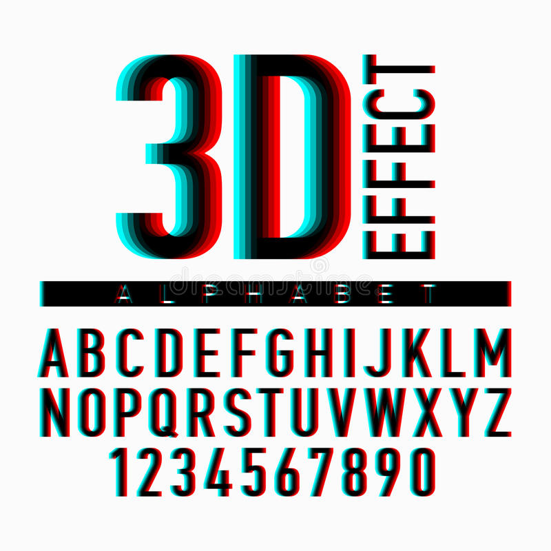 3D effect alphabet and numbers stock illustration