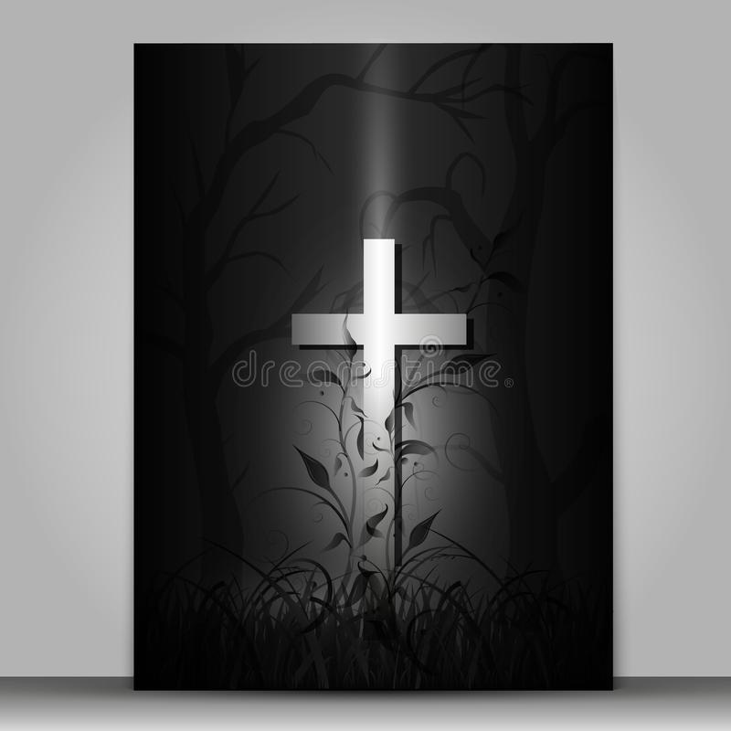 3d effect cross  mourning card isolated on grey background vector illustration