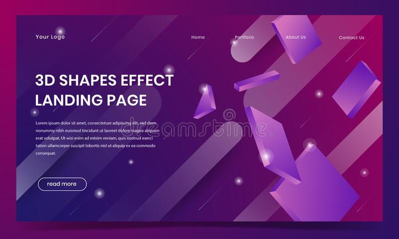 3D effect shapes landing page background design stock photography