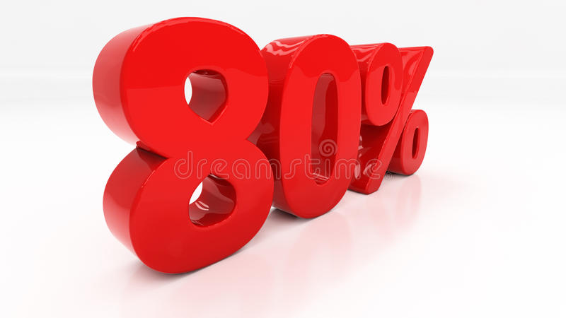 3D eighty percent. Eighty percent off. Discount 80. Percentage. 3D illustration stock photos