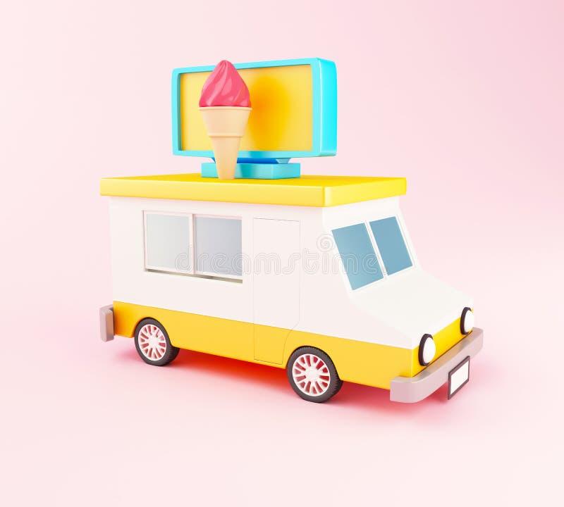 3d Eiscreme-Lebensmittel-LKW stock abbildung