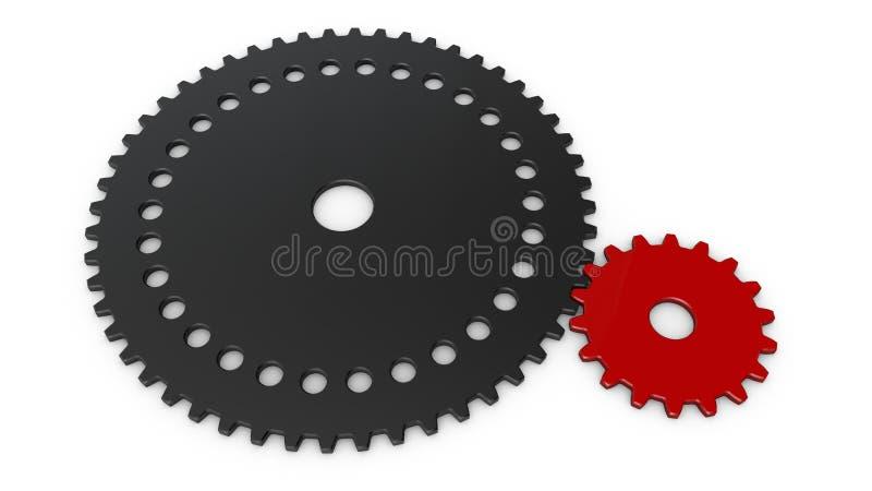 3D ejemplo de dos ruedas de engranaje, engranaje, reductor a la transmisión del momento giratorio representación 3D aislada en el ilustración del vector