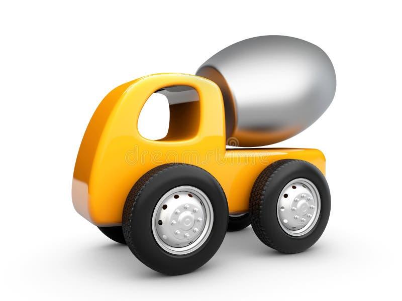 3d ejemplo del camión amarillo del mezclador concreto, blanco aislado ilustración del vector