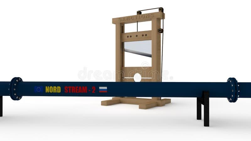 3D ejemplo del gaseoducto de NORD STREAM-2, color azul, cortado por la guillotina La idea de oponerse la política y la energía de ilustración del vector