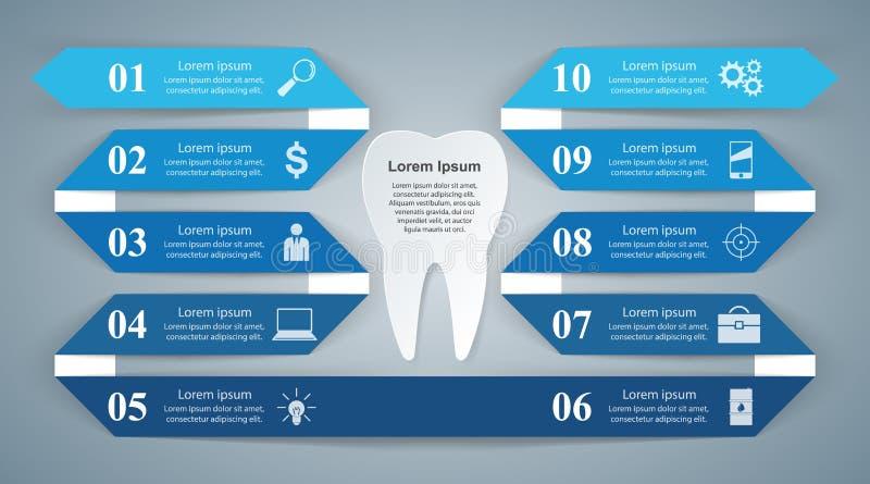 3D ejemplo digital abstracto Infographic Icono del diente stock de ilustración
