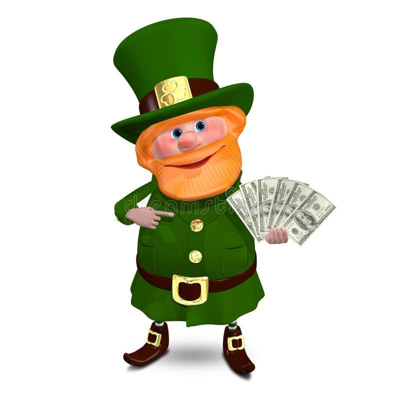 3D ejemplo St Patrick con los dólares de una fan stock de ilustración