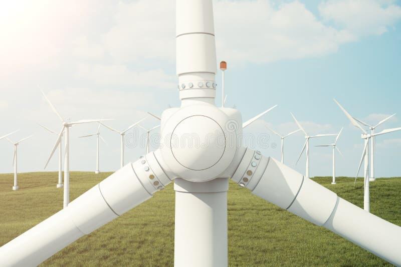 3d ejemplo, turbina de viento con el cielo de la puesta del sol Energía y electricidad Energía alternativa, eco o generadores ver stock de ilustración