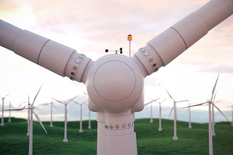 3d ejemplo, turbina de viento con el cielo de la puesta del sol Energía y electricidad Energía alternativa, eco o generadores ver libre illustration