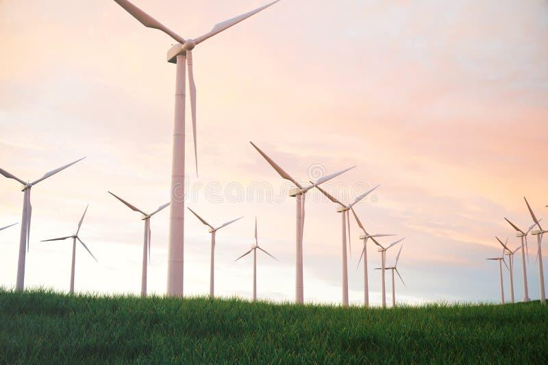 3d ejemplo, turbina de viento con el cielo de la puesta del sol Energía y electricidad Energía alternativa, eco o generadores ver ilustración del vector
