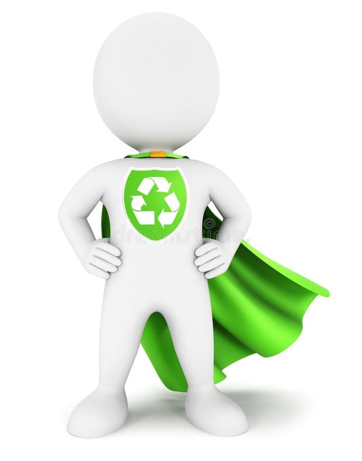 3d ekologicznego bohatera biali ludzie royalty ilustracja