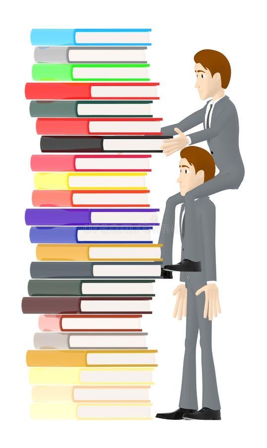 3d el carácter, hombre que se sienta en otros caracteres lleva a hombros y que arregla los libros libre illustration