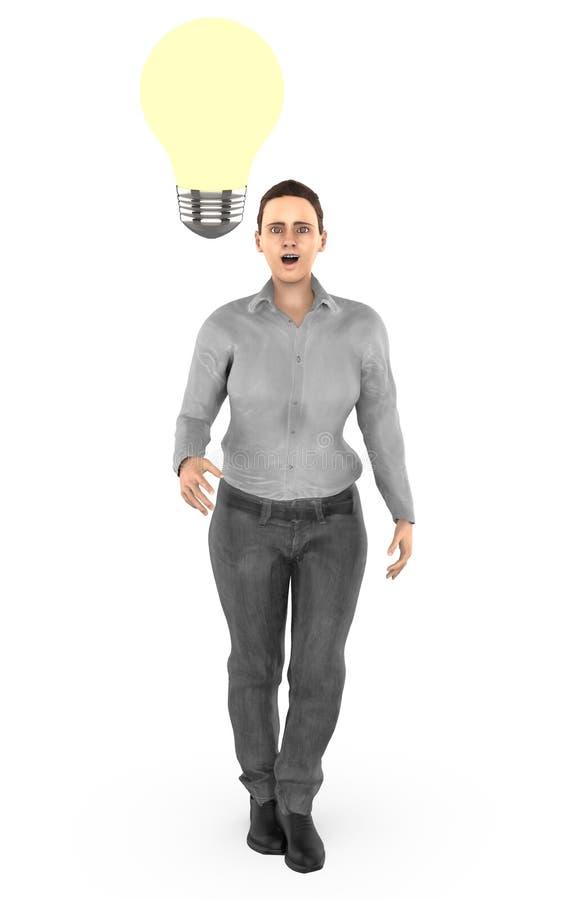 3d el carácter, mujer sorprendida, iluminó el bulbo cerca a su cabeza stock de ilustración