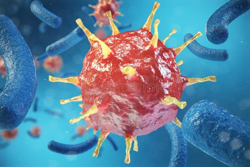 3d el ejemplo, hepatitis, H1N1, VIH, GRIPE, los virus SIDA resume el fondo Virus de hepatitis en organismo infectado stock de ilustración