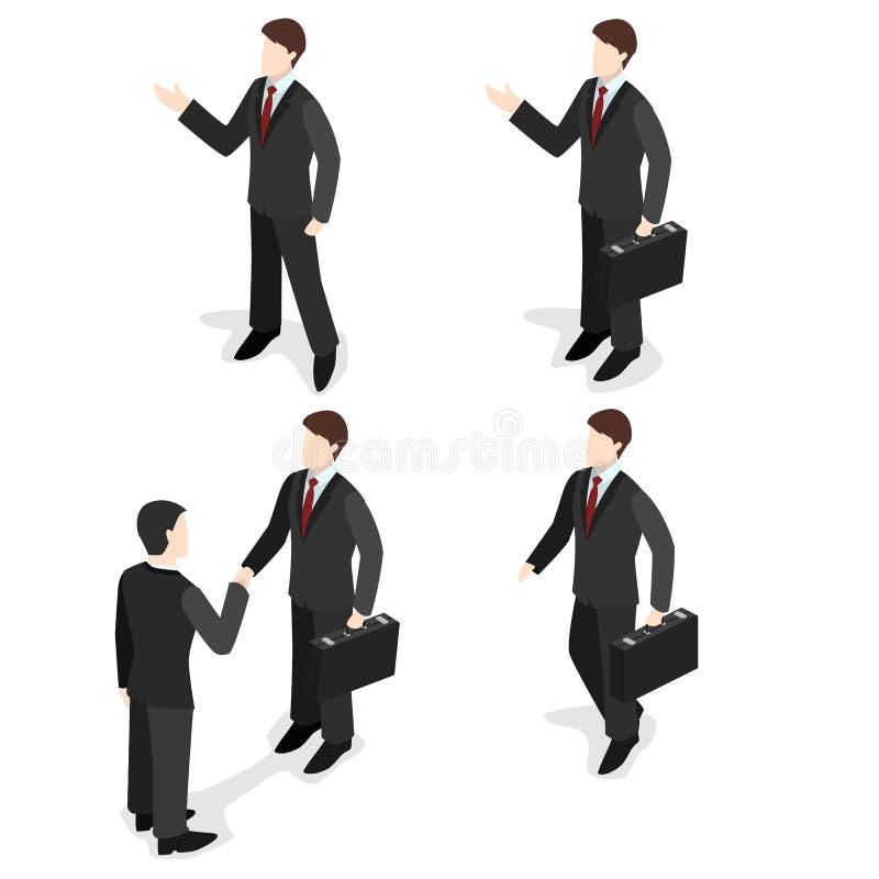 3d el sistema plano isométrico de hombres de negocios con las maletas, hombre de negocios va, los soportes, sacude las manos ilustración del vector