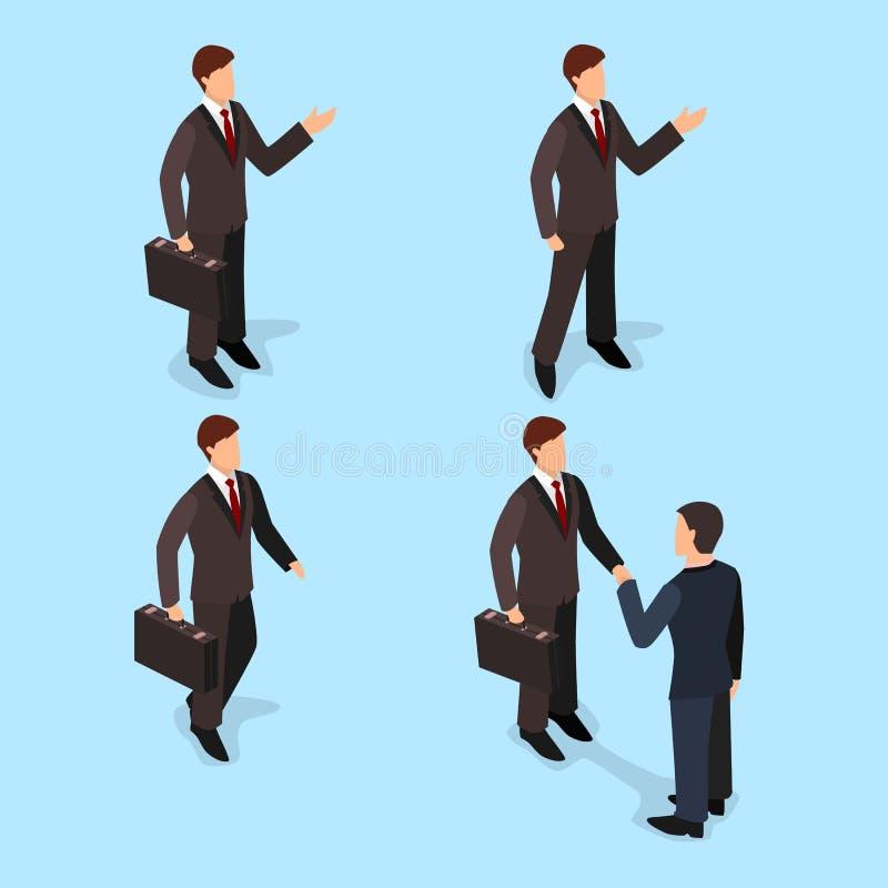 3d el sistema plano isométrico de hombres de negocios con las maletas, hombre de negocios va, los soportes, sacude las manos stock de ilustración