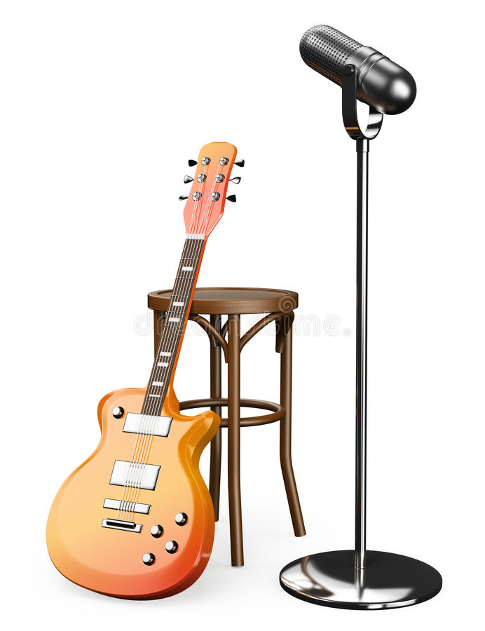 3d Electric Guitar Stool And Microphone Stock Illustration
