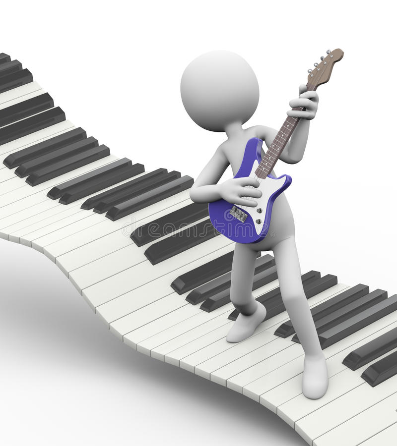 3d electric guitarist on keyboard. 3d rendering of rock guitarist playing electric guitar on floating keyboard. White person people man illustration vector illustration