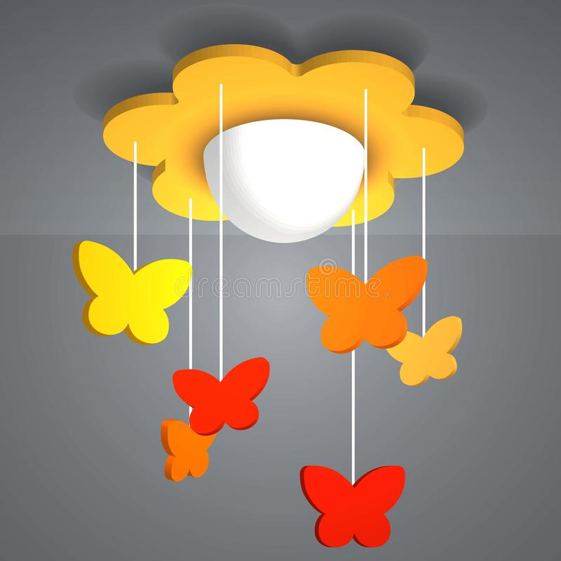 3d electric Lamp. With butterfly. light colors stock illustration