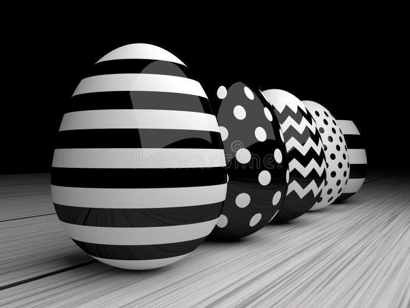 3d elegant, black and white Easter eggs stock illustration