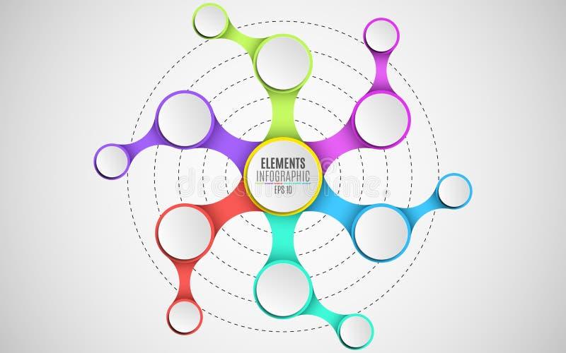 3d elementen van infographics voor uw bedrijfsprojecten Leeg document, driedimensionele cirkels in de stijl metaball Een ketting  stock illustratie