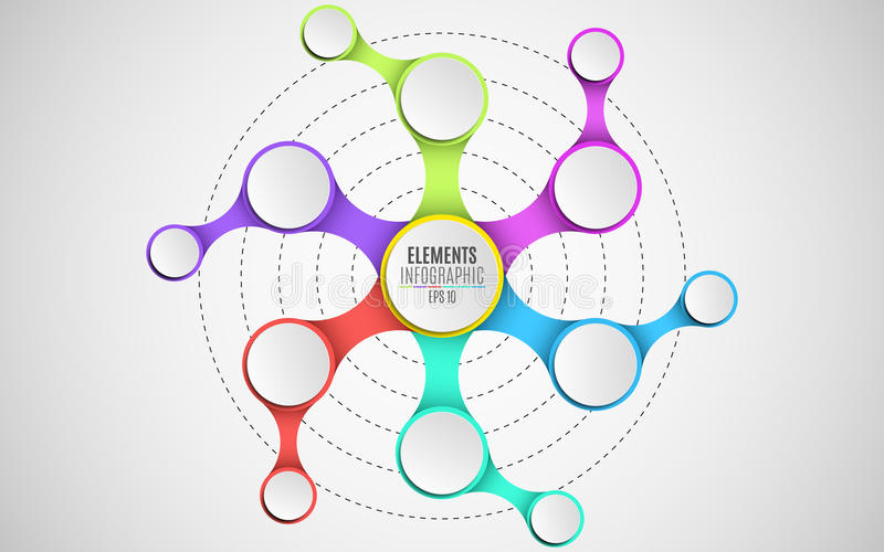 3d elements of infographics for your business projects. Empty paper, three-dimensional circles in the style metaball. A chain of o. Bjects. Multicolored stock illustration