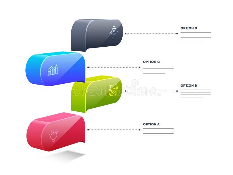 3D elementu pudełka kolorowy infographic układ z 4 krokami może używać dla obieg ilustracja wektor