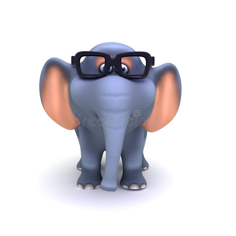 Download 3d Elephant in glasses stock illustration. Image of cartoon - 38733489