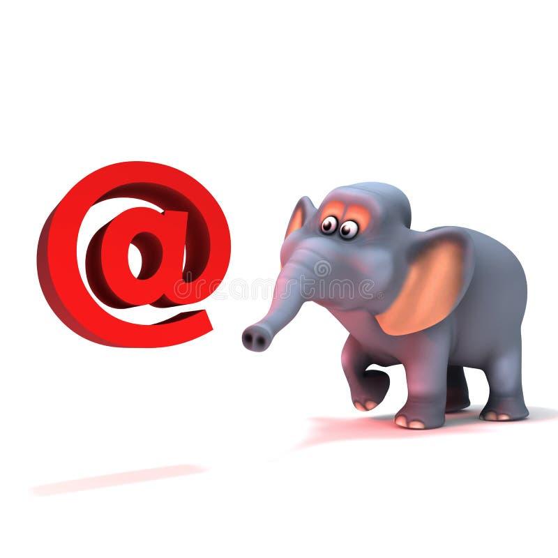 3d Elephant has an email address. 3d render of an elephant with an email address symbol stock illustration