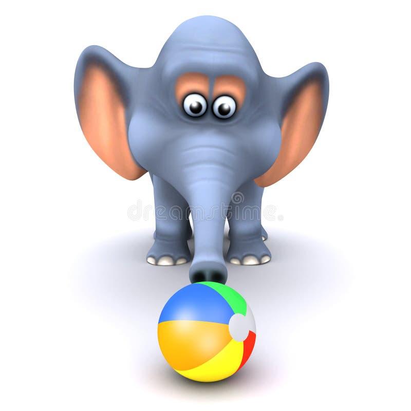 3d Elephant plays on the beach stock illustration