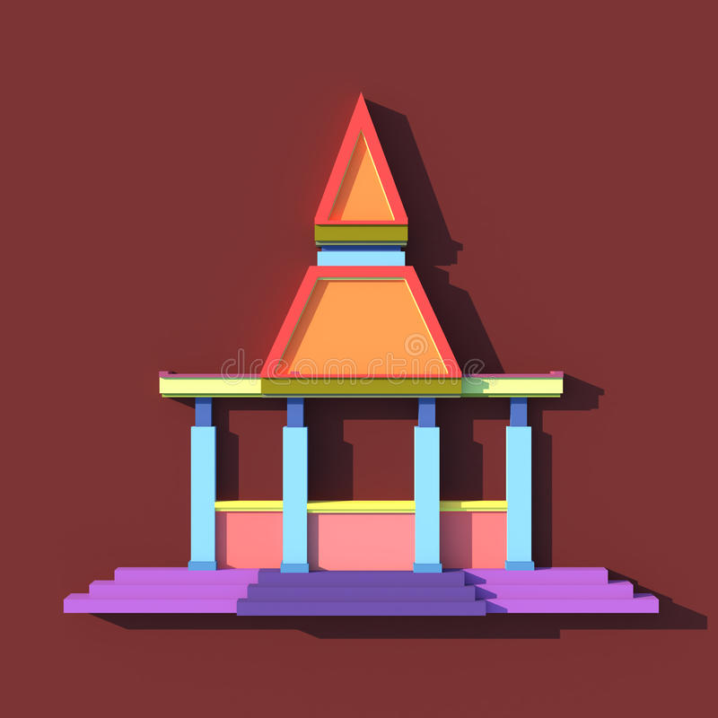 3D elevation of south-east Asian pavilion or temple front view. In artists design stock illustration