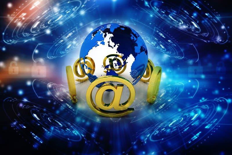 3d emaila znak z kuli ziemskiej ikoną royalty ilustracja