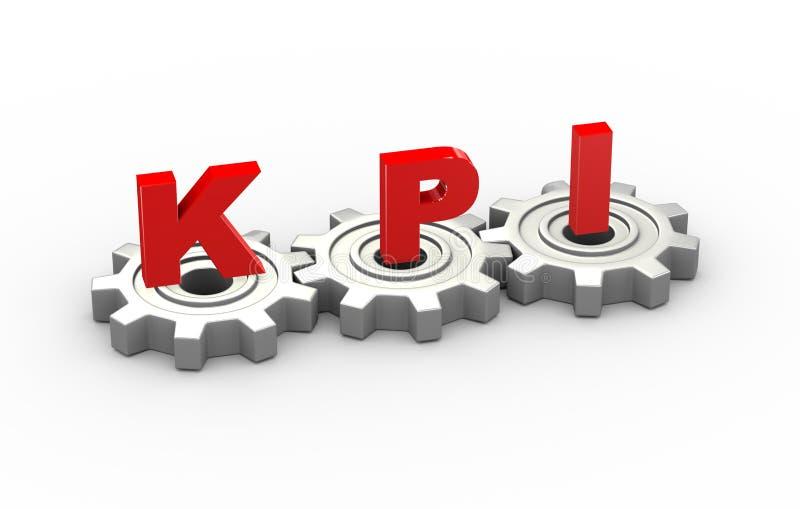 3d embraye le concept de kpi illustration stock