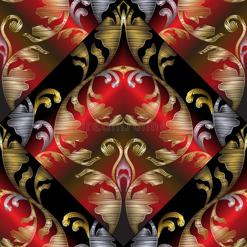 3d embroidery Baroque seamless pattern. Vector black red gold ab royalty free illustration