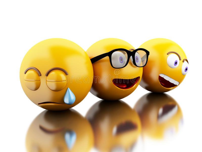 3d Emojis icons with facial expressions. royalty free illustration