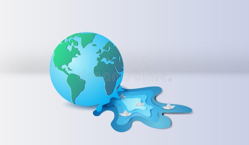 3d empaquettent l'art et le métier de la terre avec le bateau à voile de flottement dans le ri illustration libre de droits