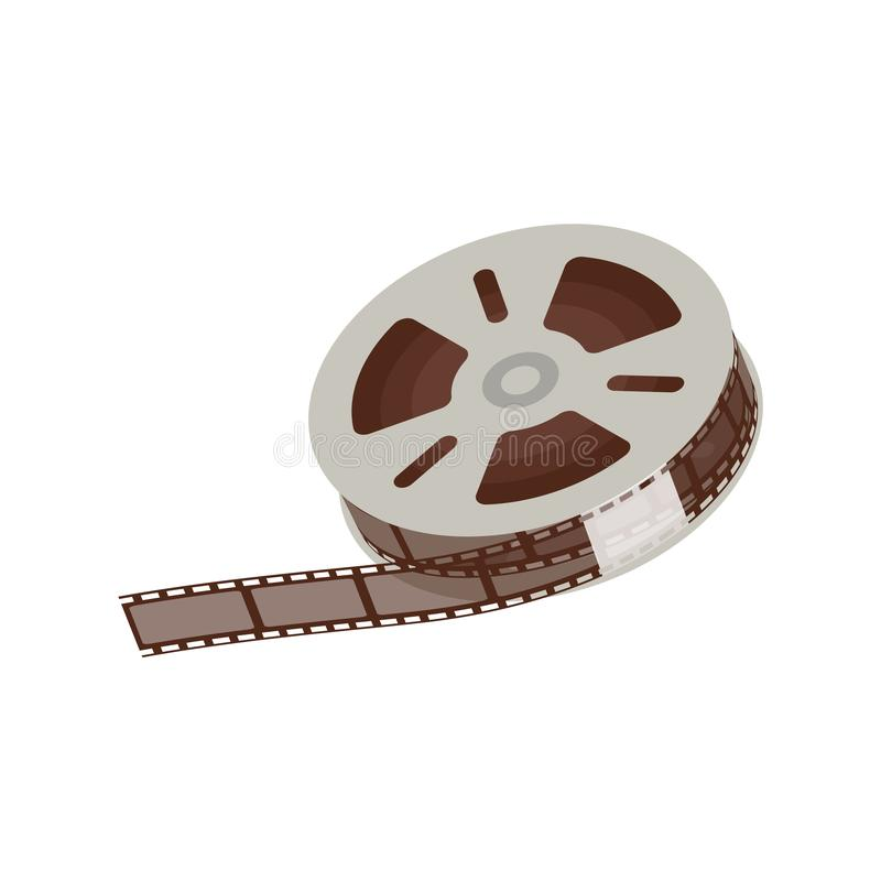 3d empty and blank reel of movie, 35 mm negative film strip for cinema and video. vector illustration