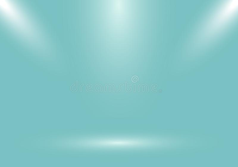 3D empty studio room show booth for designers with spotlight on green mint gradient background. Display your product or artwork vector illustration
