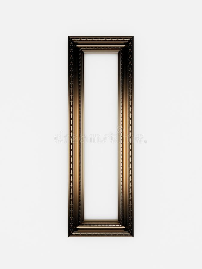 3d empty vintage frames on white wall royalty free stock image