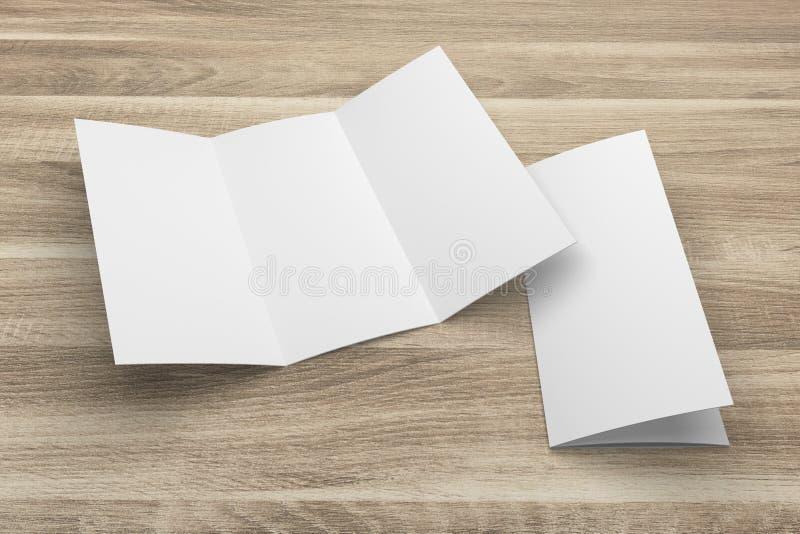 3D en blanco que rinde la maqueta triple del folleto con la trayectoria de recortes en la madera ninguna 1 stock de ilustración