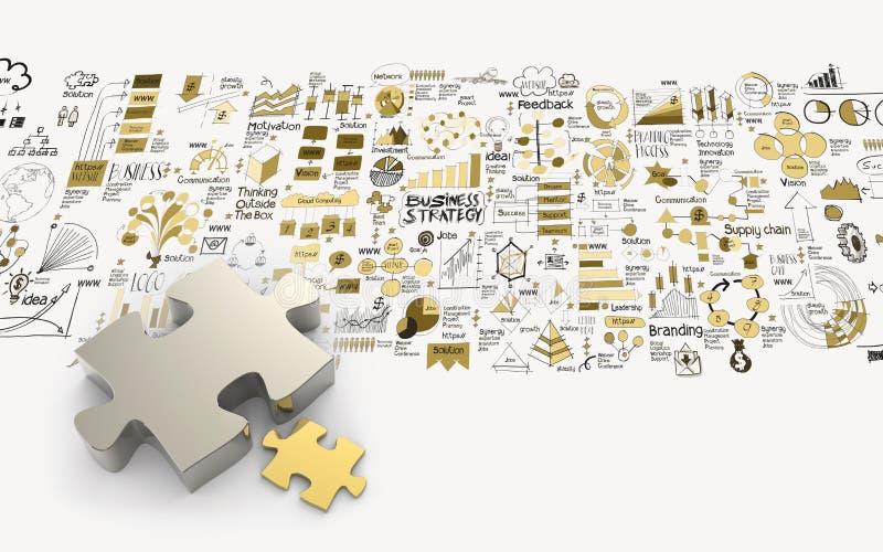 3d en hand getrokken bedrijfsstrategie van het raadselsvennootschap vector illustratie